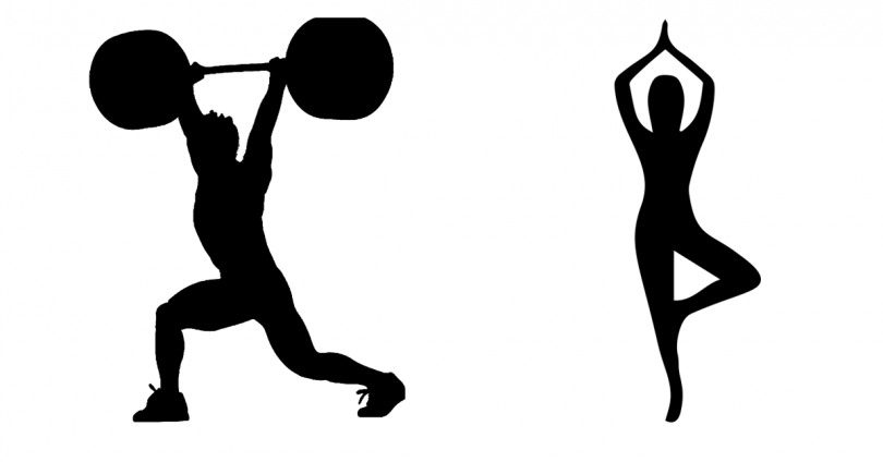 silhouette of olympic weightlifter and yogi