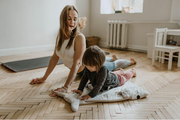 mother and daughter working out